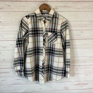 Foxcroft Button Front Brushed Cotton Plaid Shirt